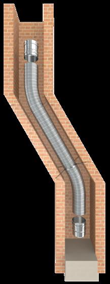 Flexibler einwandiger Edelstahlkamin für die Schornsteinsanierung oder als Verbindungsleitung einer Abgasanlage